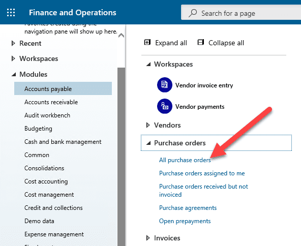 Purchase Order Dynamics 365 Step 1