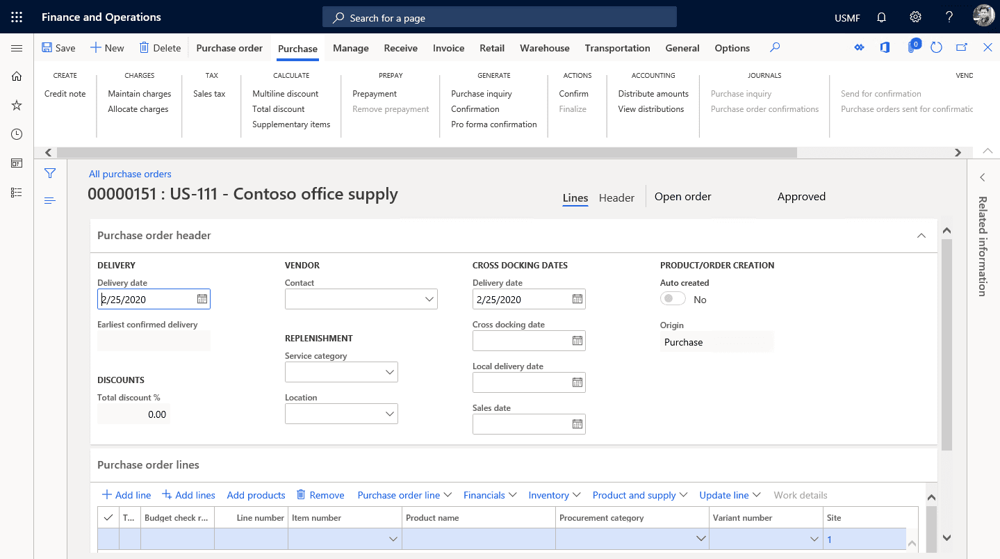 Dynamics 365 purchase order