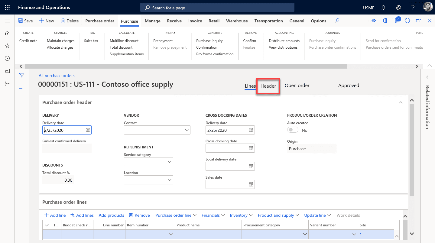Dynamics 365 purchase order step 5