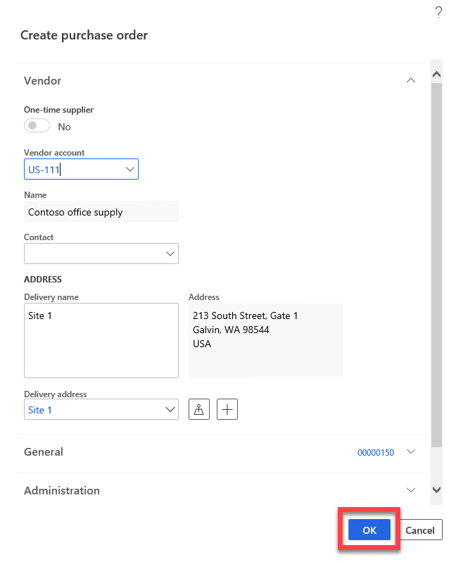 Create purchase order in Dynamics 365