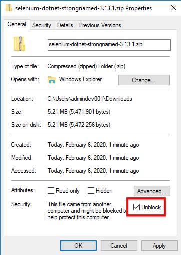 unzip the files