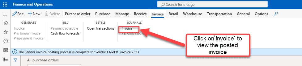 Purchase Order Invoice Posting - Step 4