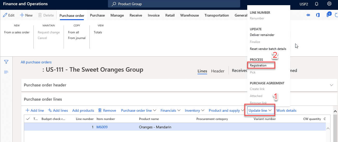 data model purchase order Item Receipts & Inventory Registration Step 1