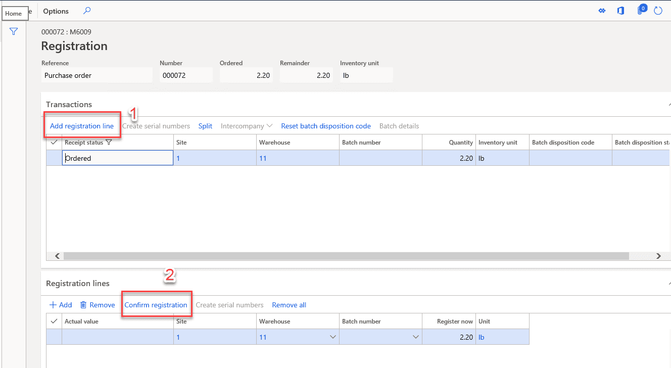 data model purchase order Item Receipts & Inventory Registration Step 2