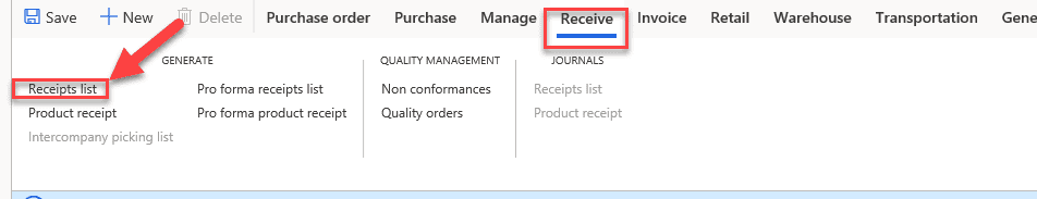 data model purchase order Item Receipts & Inventory Registration Step 3