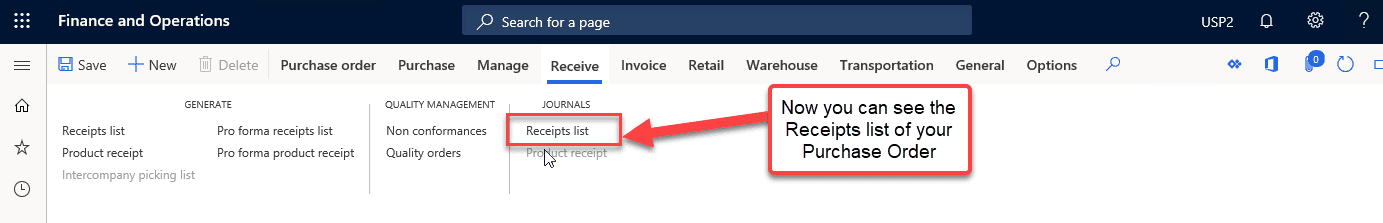 data model purchase order Item Receipts & Inventory Registration Step 6