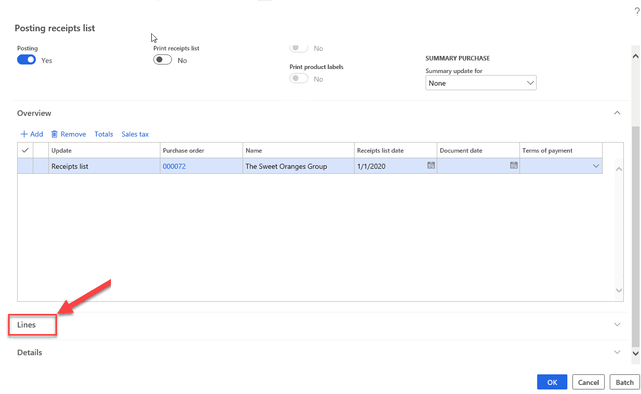 data model purchase order Item Receipts & Inventory Registration -purchase order lines