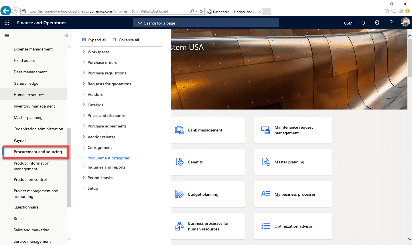 Purchase Requisition Dynamics 365 Step 1