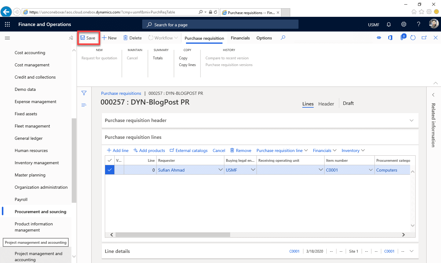 Purchase Requisition Dynamics 365 Step 11