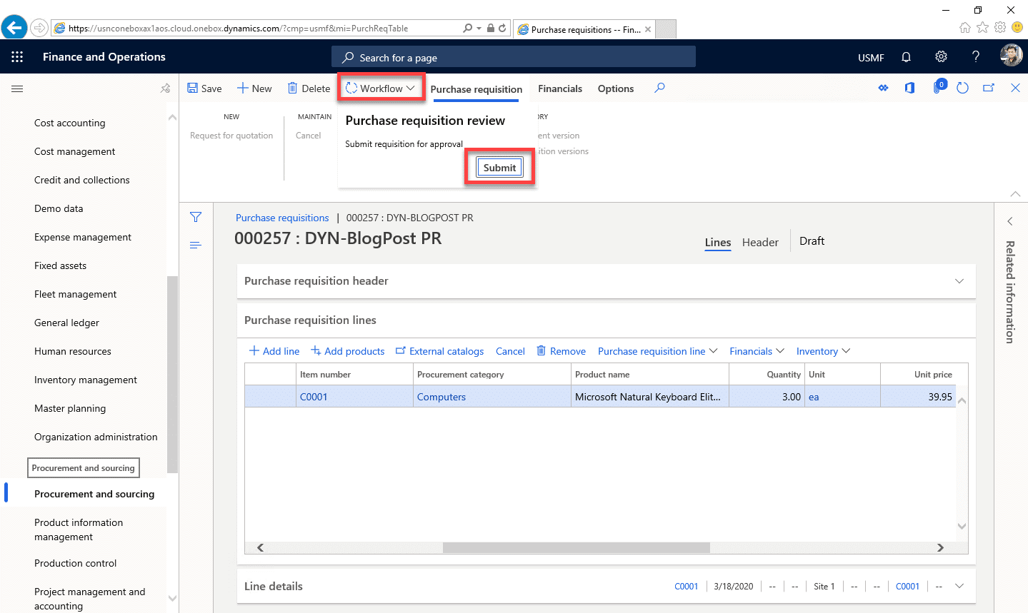 Purchase Requisition Dynamics 365 Step 12