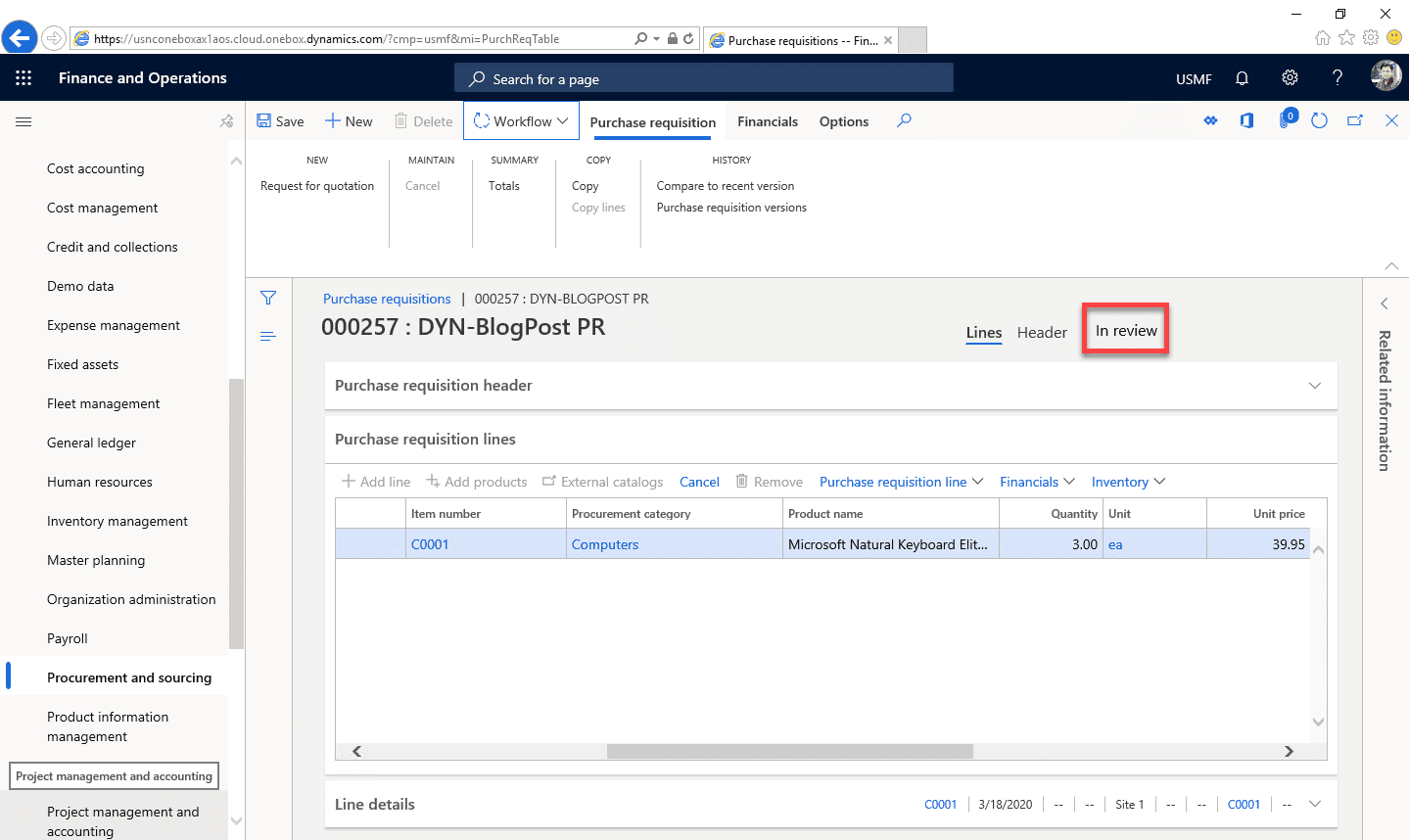 Purchase Requisition Dynamics 365 Step 14