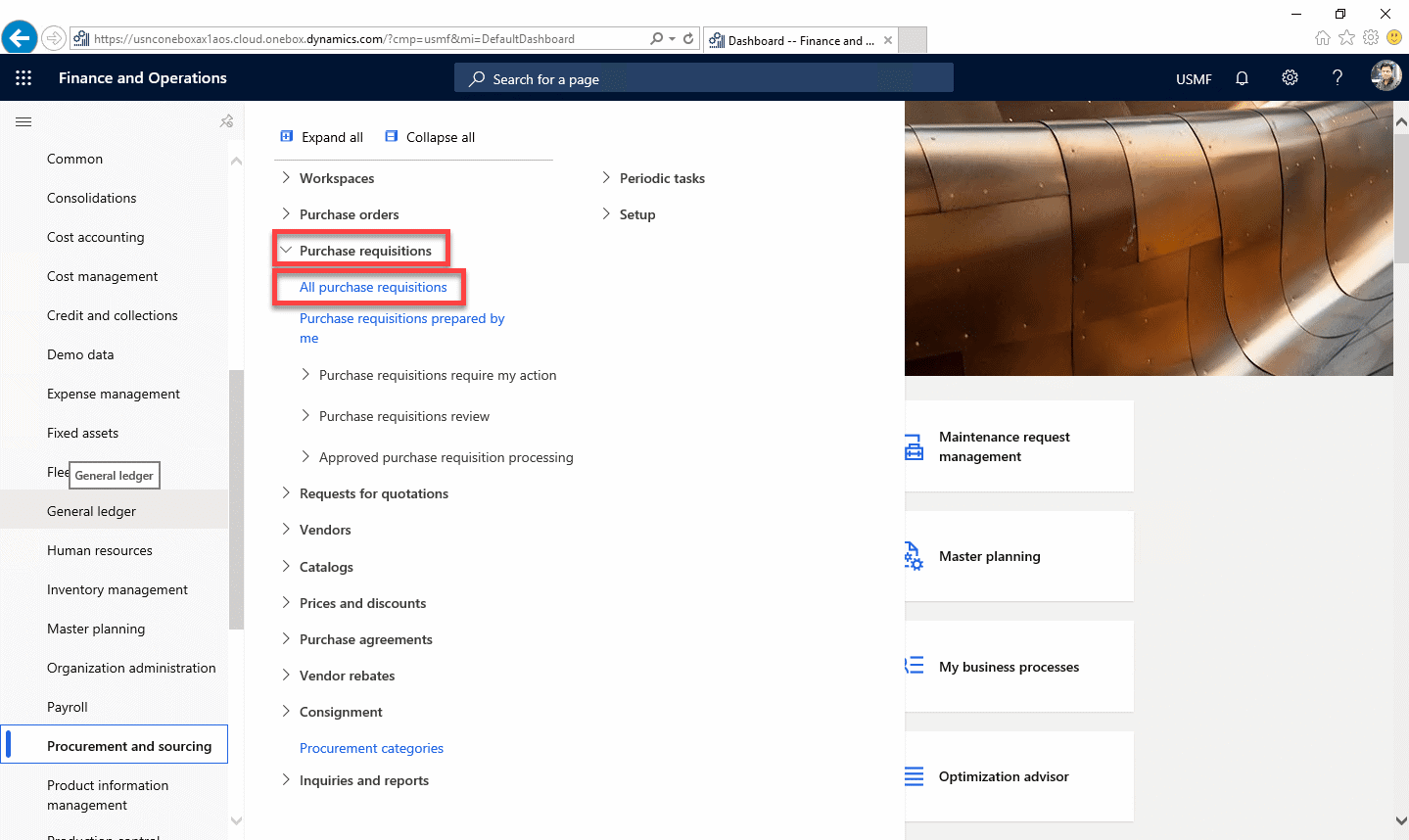 Purchase Requisitions Dynamics 365 Step 2