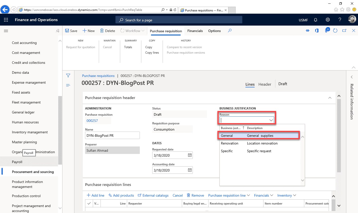 Purchase Requisition Dynamics 365 Step 7