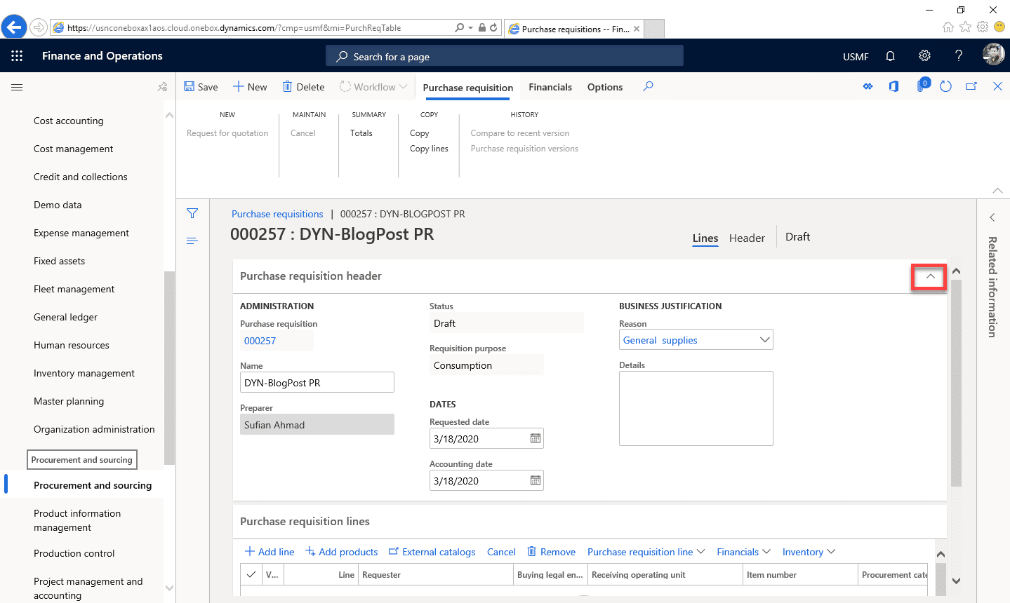 Purchase Requisition Dynamics 365 Step 8