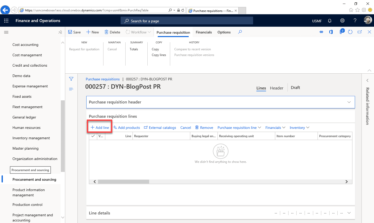 Purchase Requisition Dynamics 365 Step 9