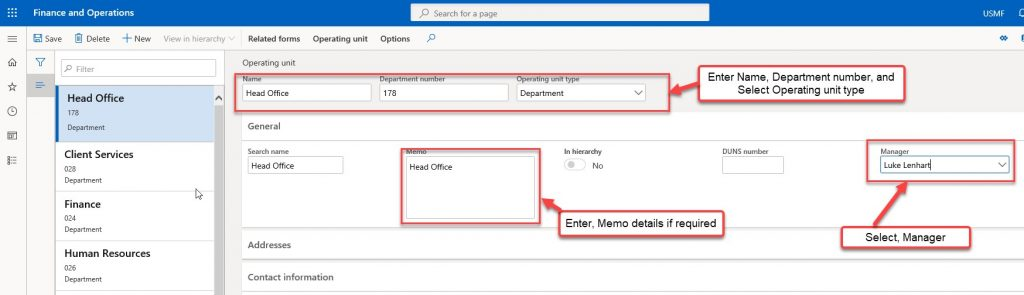 Create a department in Dynamics 365 - Step 3