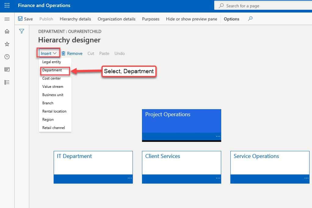Create a department and hierarchy (select) Dynamics 365