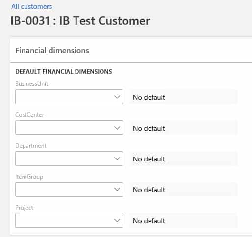 Default financial dimensions to create a customer in D365