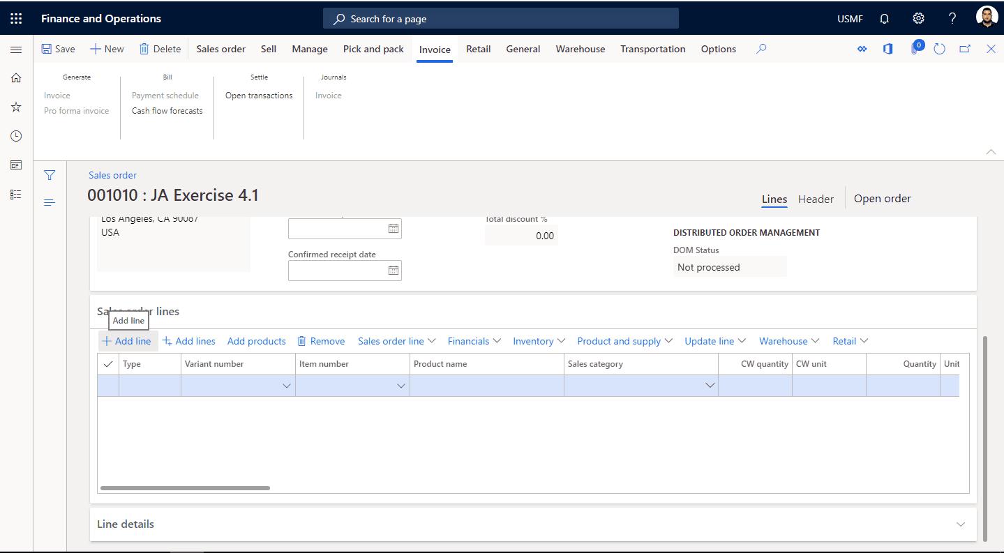 Step 2: create a new sales order line in Microsoft Dynamics 365