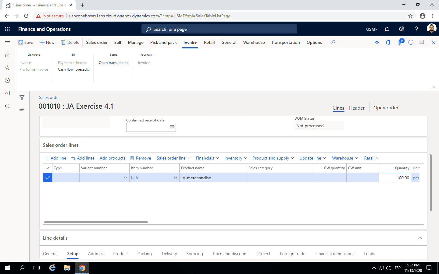 Step 3: enter quantity in a new salers order line in Microsoft Dynamics 365