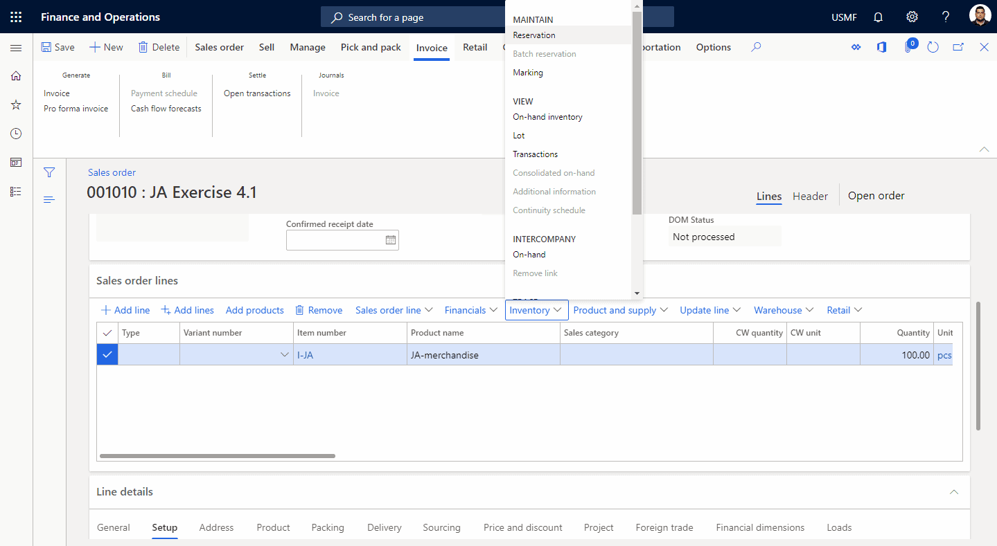 Step 4: Inventory Reservation Process in Dynamics 365