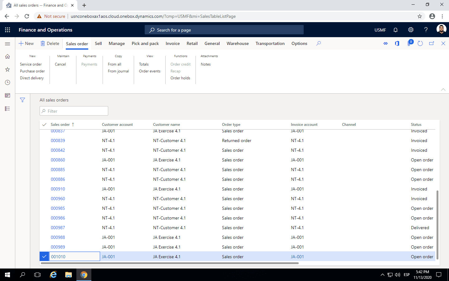 Step 2: select orders in Inventory Reservation Process in Dynamics 365