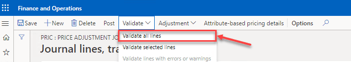 Dynamics 365 Trade Agreement - Validate All Lines