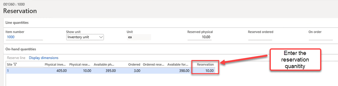 Step 3: Enter Inventory Reservation Quantity