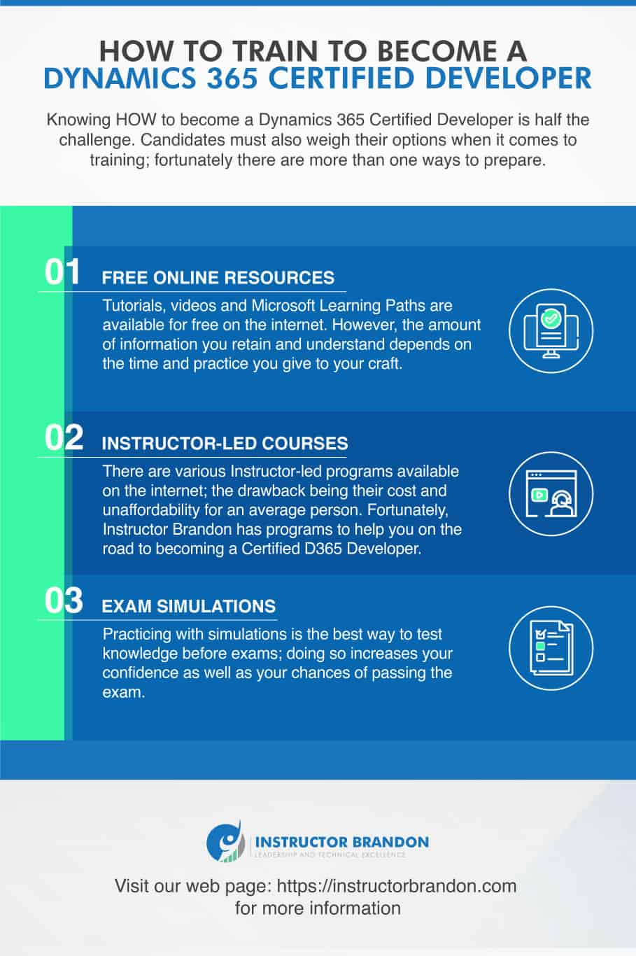 Infographic Describing the Available Training Methods to Become a Microsoft Certified Dynamics 365 Developer