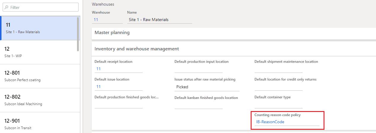 setup warehouse reason code d365
