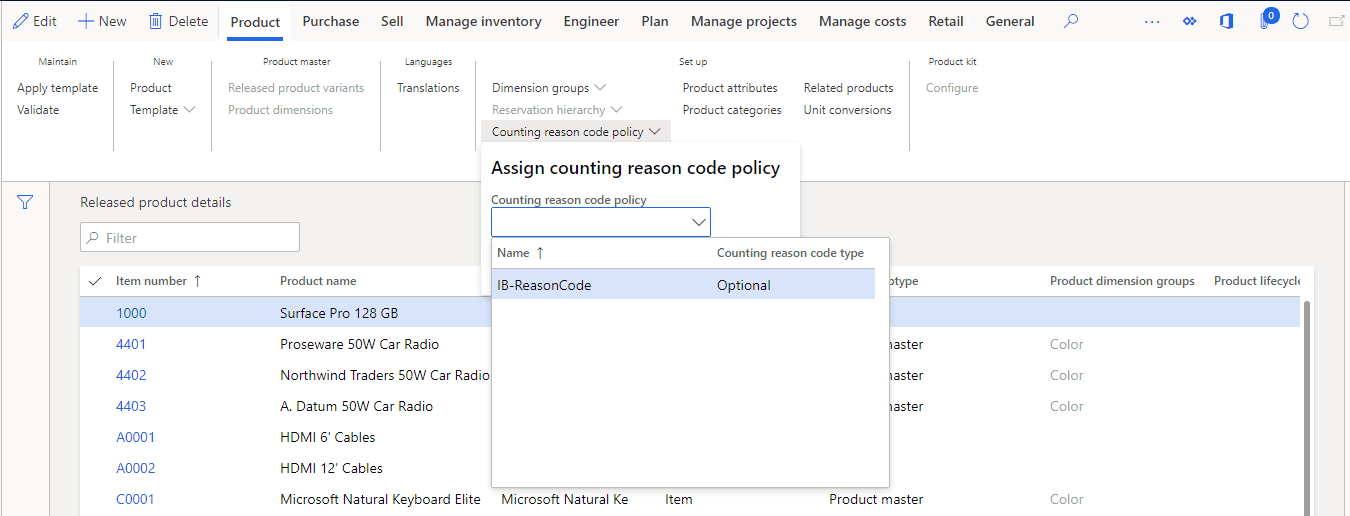 setup product reason code d365