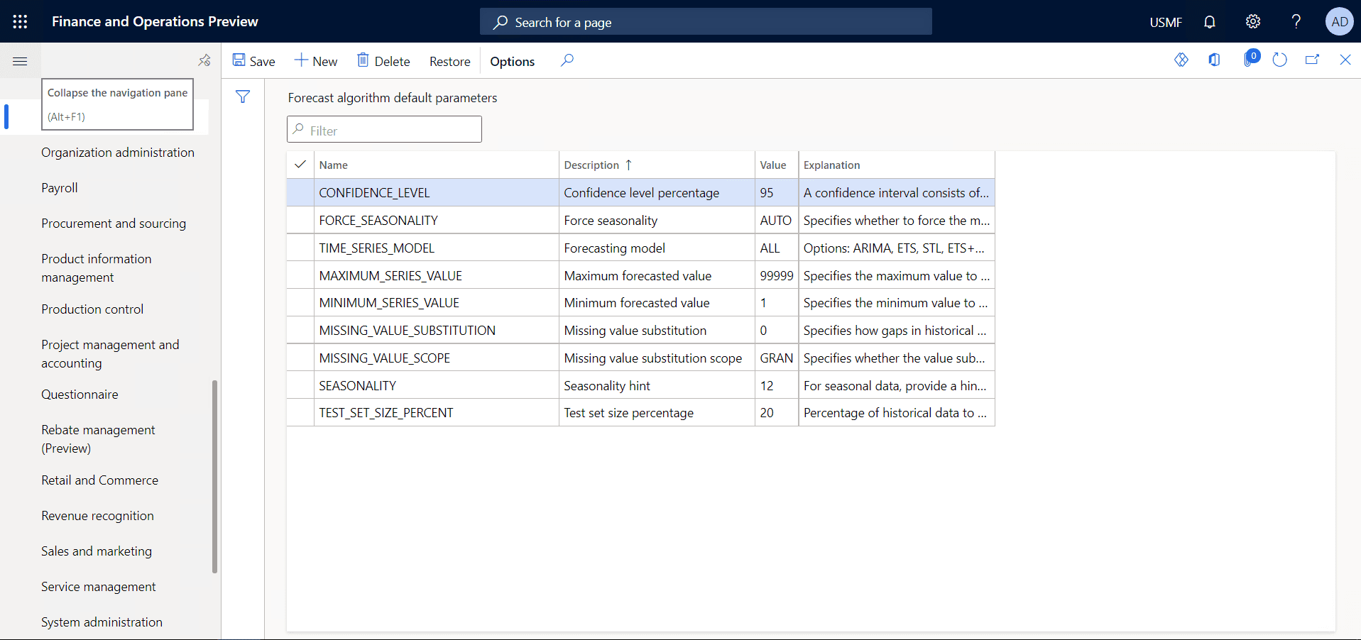 Open Forecasting algorithm default parameters form