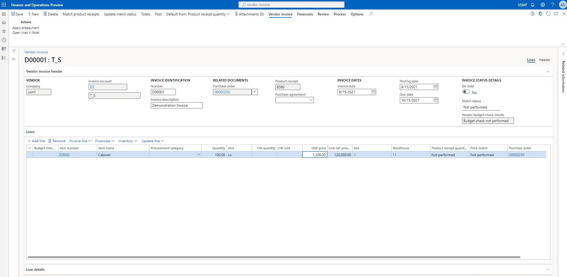 vendor invoice form